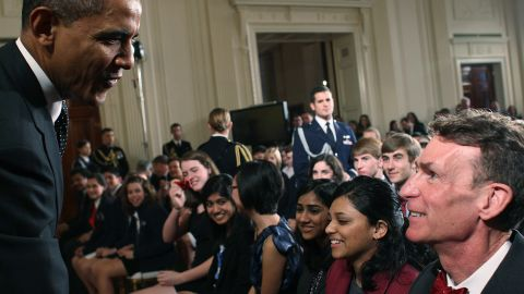 President Obama greets Bill Nye during a science fair event at the White House on February 7.