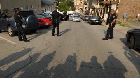 Shadows of the media are seen outside the courthouse during the second day of deliberations. Jurors took 21 hours over two days to convict Sandusky on 45 of 48 charges against him.