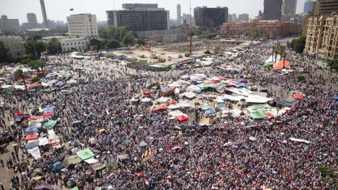 Egyptians fill Tahrir Square on Sunday, June 24, as they wait for the elections commission to announce the winner of the country's presidential election.