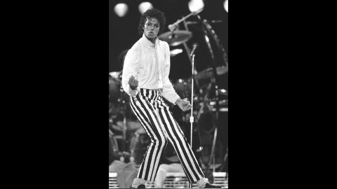 Jackson achieved superstardom with his solo career in the 1980s. Here Jackson is shown onstage in Kansas in 1983.