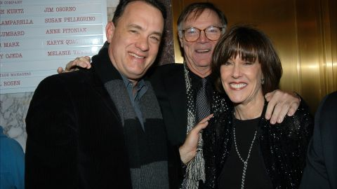 """Tom Hanks joins Ephron and husband Nicholas Pileggi in 2003 for the opening-night performance of her play """"Imaginary Friends."""" Hanks starred in Ephron's films """"You've Got Mail"""" and """"Sleepless in Seattle."""""""