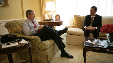 President George W. Bush meets with Roberts for morning coffee at the White House on July 20, 2005, a day after Bush first nominated Roberts for the Supreme Court to replace outgoing Justice Sandra Day O'Connor.