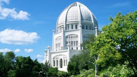 Adherents of the Baha'i religion can be found worldwide. Here is the Baha'i House of Worship in Wilmette, Illinois.