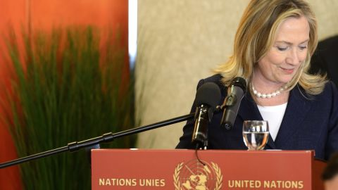 U.S. Secretary of State Hillary Rodham Clinton speaks during a meeting of the Action Group for Syria at the United Nations office, in Geneva, on June 30, 2012.