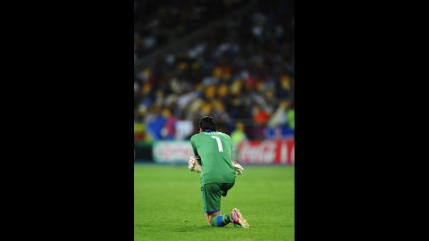 Italy goalkeeper Gianluigi Buffon looks on during Sunday's match against Spain.