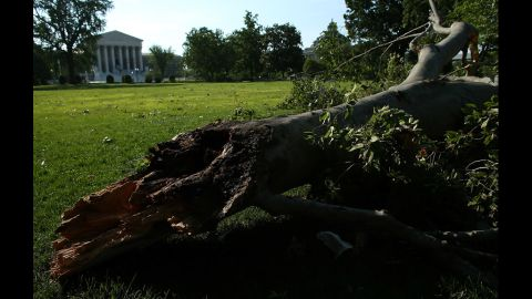 The fast-moving line of dangerous storms left four people dead andknocked out power to more than 1.5 million customers in the Washington area late Friday, according to media reports.