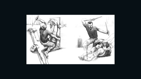 """Illustrations from the Human Rights Watch report show torture techniques called """"basat al reeh,"""" left, and """"dulab."""" The group commissioned a Syrian artist for the sketches based on descriptions from former detainees and defectors."""