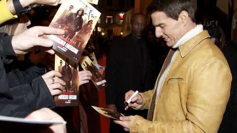 """Cruise greeted fans at the Madrid premiere of """"Mission Impossible -- Ghost Protocol"""" in 2011."""