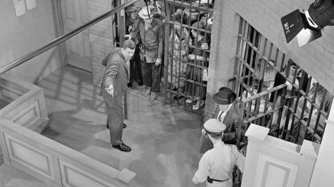 """A bird's-eye view shows the town in jail on set for """"Andy Saves Barney's Morale."""""""