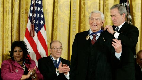 In 2005, Griffith was awarded the Presidential Medal of Freedom by President George W. Bush. Fellow awardees included singer Aretha Franklin and former Chairman of the Federal Reserve Alan Greenspan.