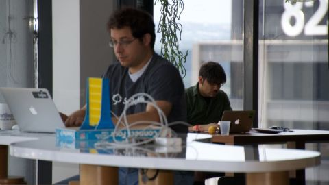 Tech entrepreneurs occupy the Capital Factory workspace in downtown Austin, Texas.