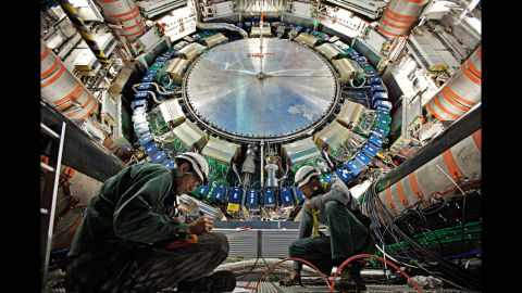 """The ATLAS experiment, seen here in 2011, is about two stories taller than CMS. The Higgs boson has been called the """"God particle"""" because of a book by that title, but scientists hate the name."""