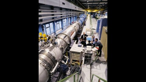 """The particle accelerator magnets of the LHC are shown at the underground test facility at CERN near Geneva. Many scientists dislike the term """"God particle,"""" even though it's become popular in the media. The nickname came from the title of a book by Leon Lederman, who reportedly wanted to call it the """"Goddamn Particle"""" since it was so hard to find."""