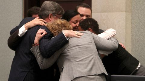 <strong>July 5, 2011: </strong>Casey Anthony's defense team surrounded her in a group hug after the then-25-year-old was acquitted.