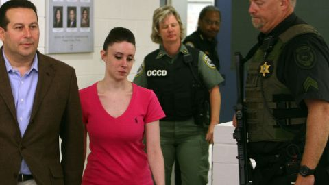 <strong>July 17, 2011: </strong>Casey was sentenced to four years in jail with credit for time served. On July 17, she was released; here, she's seen leaving the Booking and Release Center at the Orange County Jail with her lawyer, Jose Baez.
