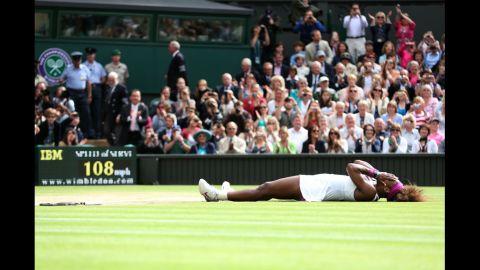 Serena Williams celebrates her win against Poland's Agnieszka Radwanska for her fifth Wimbledon title. Visit CNN.com/tennis for complete coverage.