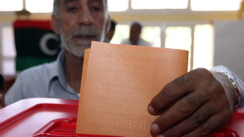A man casts his ballot at an Abu Slim polling station near Tripoli.