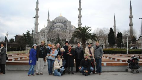 """Members of the inaugural """"Muslim for a Month"""" tour stand before the Blue Mosque in Istanbul, Turkey."""