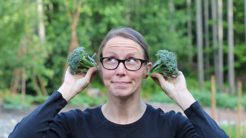 """This was the first year Mavis was able to grow broccoli from seed. """"I must admit, I danced a minor jig in the garden upon seeing the thriving heads of broccoli."""""""