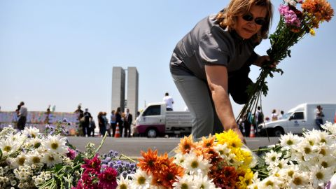 A woman grabs bunches of flowers during a demonstration for greater spending on health care in front of the National Congress in Brasilia, on September 27, 2011.