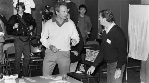 Clint Eastwood goes to the polls as he attempts to become the mayor of Carmel, California, in 1986 (he served one term). Eastwood has traditionally voted Republican, supporting candidates from Richard Nixon to John McCain.
