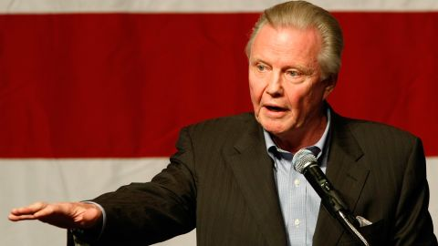 """Jon Voight speaks at a rally for U.S. Republican Senate candidate Sharron Angle at The Orleans in Las Vegas in 2010. He endorsed Mitt Romney in the 2012 race. In an open letter to President Obama in the Washington Times in 2010, he wrote, """"You have brought to Arizona a civil war, once again defending the criminals and illegals, creating a meltdown for good, loyal, law-abiding citizens."""""""