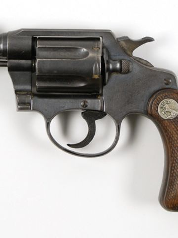 This .38 Detective Special snub-nose revolver was recovered taped to Bonnie Parker's thigh after she was killed.