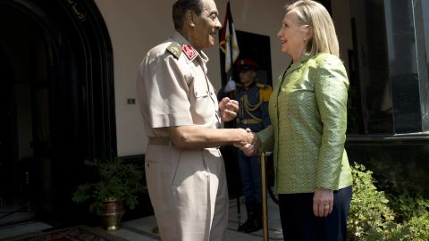Field Marshal Mohamed Tantawi greets U.S. Secretary of State Hillary Clinton before a meeting in Cairo.