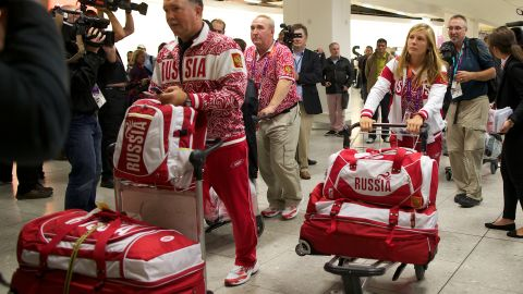 Members of Russia's Olympic sailing team arrive at Heathrow airport in west London on July 16, 2012.