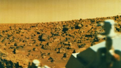 This image was captured in 1976 by Viking 2, one of two probes sent to investigate the surface of Mars for the first time. NASA's Viking landers blazed the trail for future missions to Mars.
