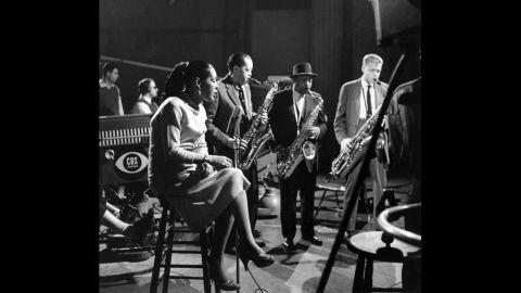 """From left, Holiday, performs with musicians Lester Young, Coleman Hawkins and Gerry Mulligan on the CBS television program """"The Seven Lively Arts"""" in New York in 1957."""