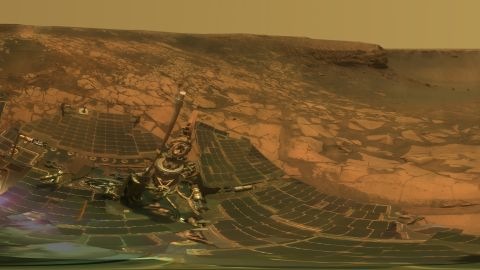 NASA's Opportunity examines rocks inside an alcove called Duck Bay in the western portion of the Victoria Crater in 2007.