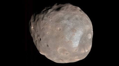 The larger of Mars' two moons, Phobos, is seen in 2008 from the Mars Reconnaissance Orbiter.