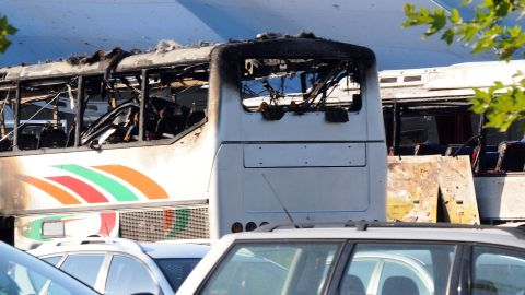 A picture shows destroyed buses after a bomb explosion at Bourgas airport on July 18, 2012. Three people were killed and more than 20 wounded on Wednesday in an apparent bomb attack on a bus packed with Israeli passengers at a Bulgarian airport, officials said, with media saying the toll would rise.              AFP PHOTO / BULFOTOSTR/AFP/GettyImages