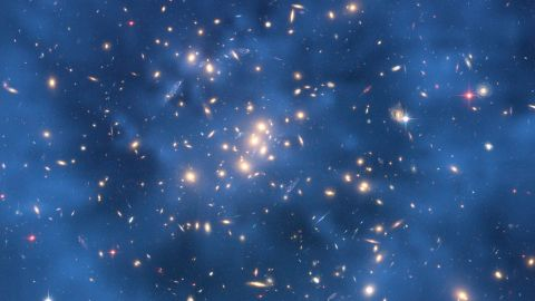 This image from the Hubble Space Telescope indicates that a huge ring of dark matter likely exists surrounding the center of CL0024+17 that has no normal matter counterpart.