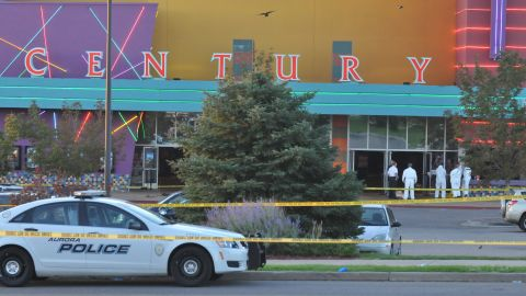 """The Century 16 movie theatre is seen where a gunmen attacked movie goers during an early morning screening of the new Batman movie, """"The Dark Knight Rises"""" July 20, 2012 in Aurora, Colorado. Police have the suspect, twenty-four year old James Holmes of North Aurora, in custody."""