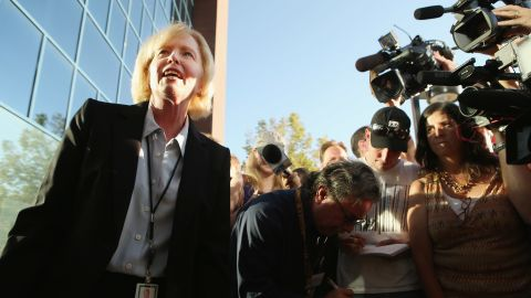 Arapahoe County District Attorney Carol Chambers talks to reporters July 23, 2012, before heading into the courthouse. The murder counts against Holmes carry a possible death penalty.
