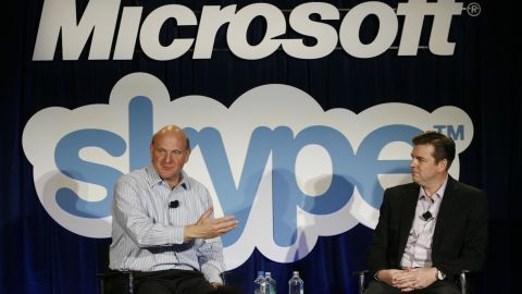 Microsoft CEO Steve Ballmer and Skype CEO Tony Bates at a press conference in 2011.