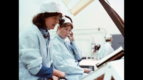 Ride, left, and Anna Lee Fisher work on a mission sequence test as part of their 1978 astronaut class at Kennedy Space Center in Florida. Ride, a Los Angeles native, earned four degrees at Stanford University, including a doctorate in physics, according to NASA.