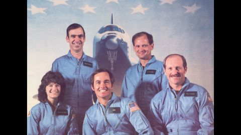 Ride and the rest of the STS-7 Challenger crew in January 1983. Next to Ride, from left, are John M. Fabian, Bob Crippen, Norman Thagard and Frederick Hauck.