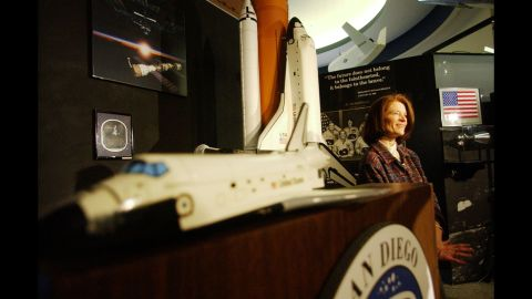 In February 2003, Ride speaks to the media at the San Diego Air & Space Museum.