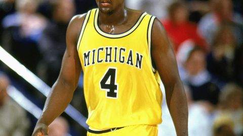 Chris Webber strolls upcourt during a home game in 1993. Webber pleaded guilty in 2003 to being paid by a University of Michigan booster to launder money from an illegal gambling operation. The NCAA put the program on four years' probation and banned the team from postseason play for the 2003-04 season. Charged with lying to federal investigators, Webber pleaded guilty to misdemeanor criminal contempt and paid a $100,000 fine.