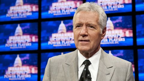 """Alex Trebek, 73, has guided """"Jeopardy!"""" since the game show became syndicated in 1984."""
