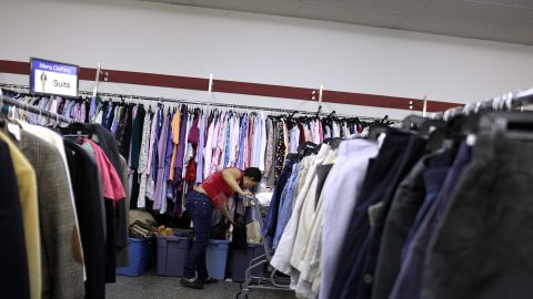 A woman shops at a Salvation Army thrift store recently in Utica, New York.
