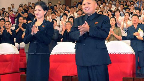 Kim Jong Un is shown with a young woman this month. It is not known if she is Ri Sol Ju.