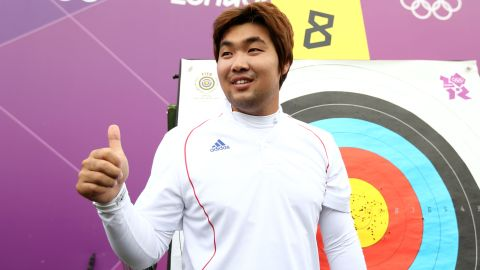 Im Dong Hyun of Korea celebrates breaking the World Record during the Men's Individual Archery Ranking Round on Friday, July 27 in London, England.