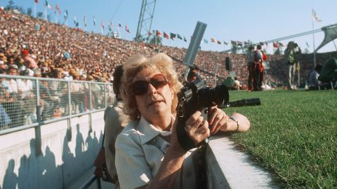 But there were still remnants of the past. Hitler's favorite movie maker and propagandist Leni Riefenstahl is pictured here at the Olympic stadium.