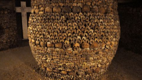 These subterranean quarries that make up the catacombs had been used to store the remains of generations of Parisians in a bid to cope with the overcrowding of Paris' cemeteries at the end of the 18th century.