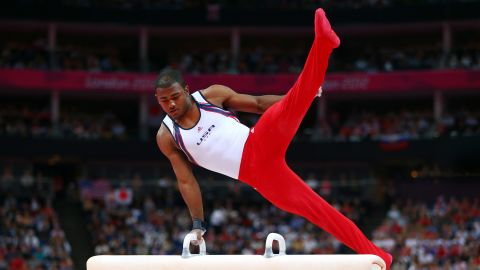 U.S. gymnast John Orozco competes on the pommel horse in the Artistic Gymnastics Men's Team final on Day 3 of the Games.