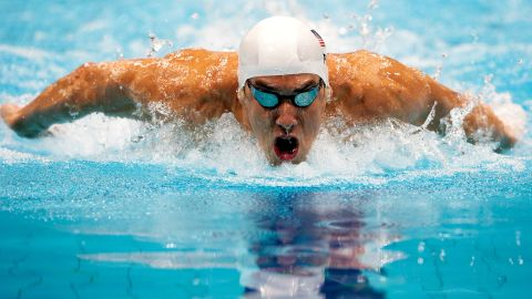 LONDON, ENGLAND - JULY 30:  Michael Phelps of the United States competes in heat 5 of the Men's 200m Butterfly on Day 3 of the London 2012 Olympic Games at the Aquatics Centre on July 30, 2012 in London, England.  (Photo by Adam Pretty/Getty Images)